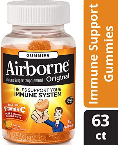 Airborne Immune Support Blast of Vitamin C Orange Gummies- 1000 mg of Vitamin C, Immune Support From Echinacea Ginger With Zinc, Selenium, Manganese, and Magnesium, 63 Count Pack of 3