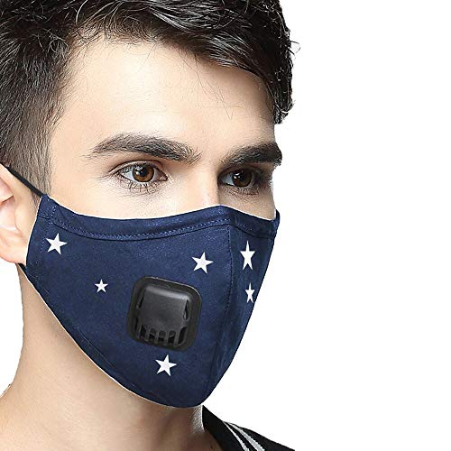 AVIGOR Anti Pollution Military Grade N99 Dust Mask Washable Cotton Masks With Adjustable Straps(Blue star)