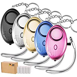 TOODOO 5 Pack 130 db Safesound Personal Security Alarm Keychain, Safety Emergency for Women, Kids, Girls, Self Defense Electronic Device as Bag Decoration