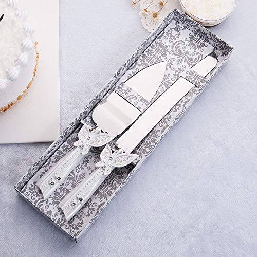 friendlyy Personalized Wedding Cake Knife and Server Set,Butterfly Dance,Stainless Steel Silver in Color - Knife Butterfly Cake