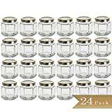 24 - TrueCraftware 4 oz Hexagon Glass Jars with Gold Covers - Pack of 24 - Jars for Jams, Honey, Sauces, Spices 120ml