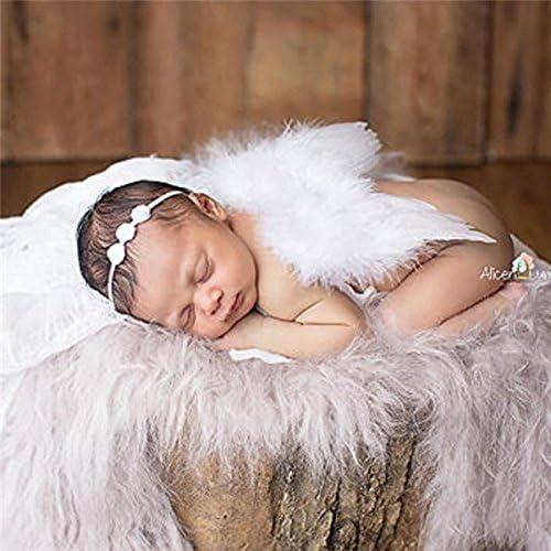 REFURBISHHOUSE Costume de Prise de Vue Photo de Bebe Nouveau-ne Ailes danges de Photographie Plume dange avec Bande de Cheveux de Fleur