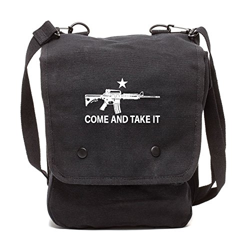 Army Force Gear Come and Take it M4 Assault Rifle Canvas Crossbody Travel Map Bag Case in Black & White