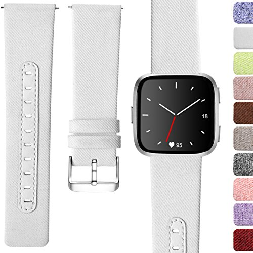 Maledan for Fitbit Versa Bands, Replacement Classic Genuine Leather & Canvas with Stainless Steel Clasp Accessories Wristbands for Versa, Women Men, Small, White
