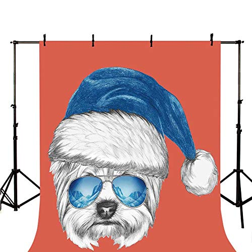 Yorkie Stylish Backdrop,Terrier with a Blue Santa Hat and Mirror Aviator Glasses Fun Hand Drawn Animal Decorative for Photography,59