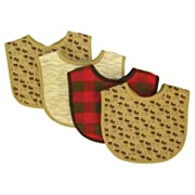Trend Lab Northwoods Bib Set, Red/Tan, 4-Count