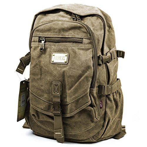 Aerlis Military Canvas Backpack School Bag Bookbag Hiking Travel (Khaki)