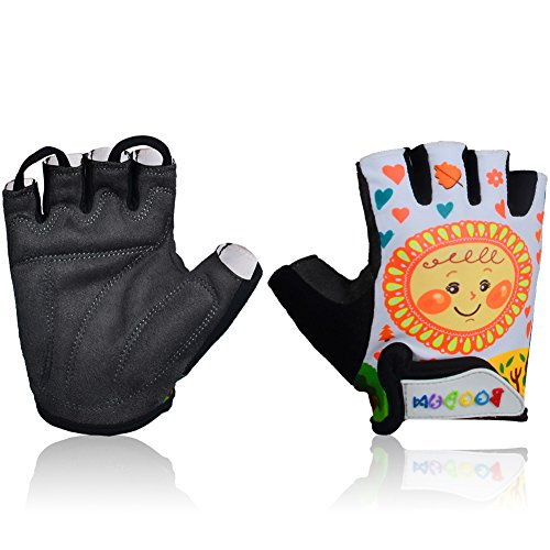 MIFULGOO Kids Padded Cycling Gloves Children Half Finger Bicycle Gloves for 3-8 Years Old Boys Girls for Balance Bike Roller Skate Scooter Inline Skating Skateboard (Spring, M)