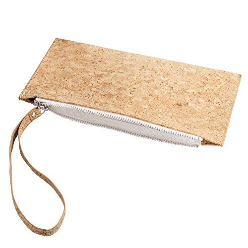 Quinn Purse Bag - InterDesign Quinn Cosmetic Clutch Purse for Makeup, Hair Accessories - Cork/White
