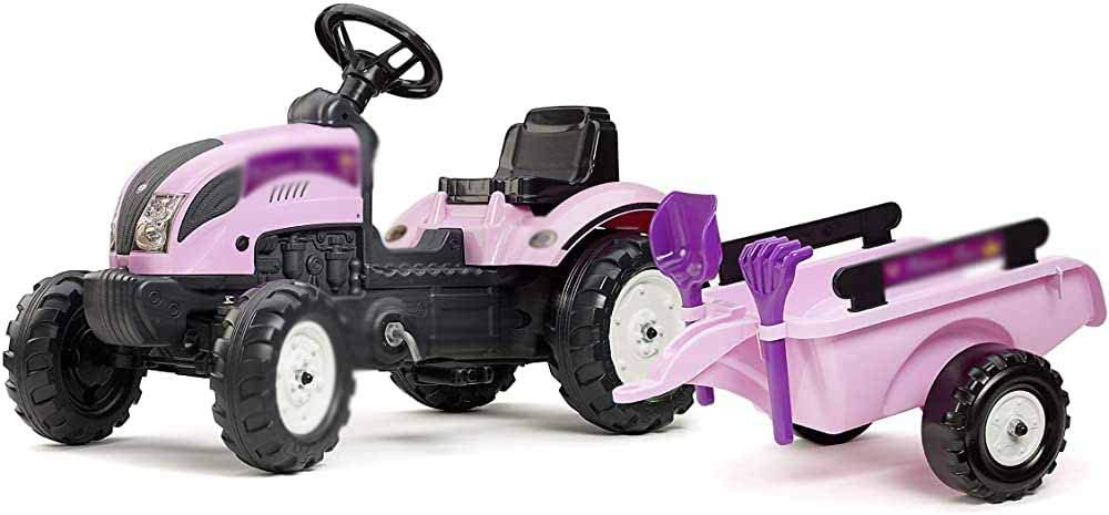 Princess Tractor and Trailer with Shovels and rakes Shovels and Pedal Tractors and Trailers,Pink
