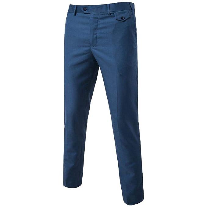 Amazon.com: ZFADDS - Pantalón para hombre con traje social y ...