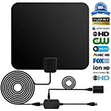 Digital TV Antenna, Kezay Super Indoor HDTV Antenna 50 Miles Range TV HD Antenna with Detachable Amplifier Signal Booster and 16.5ft Coax Cable for Feeview--2017 Upgraded Version