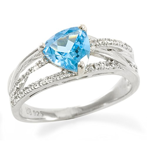 Designer Trilliant Ring (Glamouresq Sterling Silver 7mm Trilliant Cut Natural Swiss Blue Topaz & Created White Sapphire Women's Ring, Size 7)