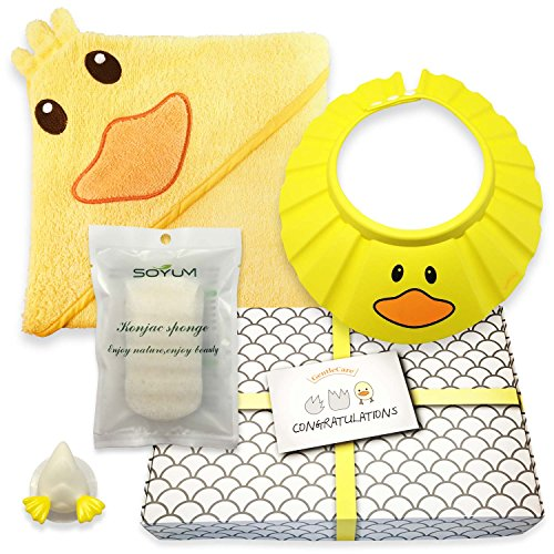 Gentle Care - Baby Shower Bath Gift Set - Soft 100% Cotton Hooded Bath Towel + Natural, Hypo-allergenic Konjac Sponge + Adjustable Foam Shampoo Cap + Beautifully Packaged