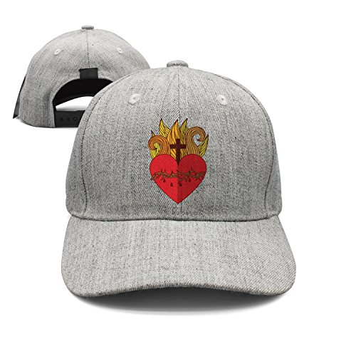 Sacred Jesus Heart Icon Woolen Peak Cap Snapback Hat Summer Hats Grey ()