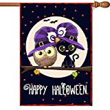 VIEKEY Halloween House Flags 28 x 40 Inches Printing Double Readable 2-Layer Fabric Halloween Flag Increase The Festive Atmosphere