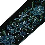 Vintage Sari Border Indian Craft Trim Embroidered Sewing Ribbon Lace Black