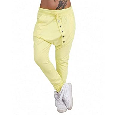 c8c38455e Hibote Women Harem Trousers Sweatpants Sports Trousers Elastic Stretch  Trousers with Drawstring Soft Comfortable Pants Casual