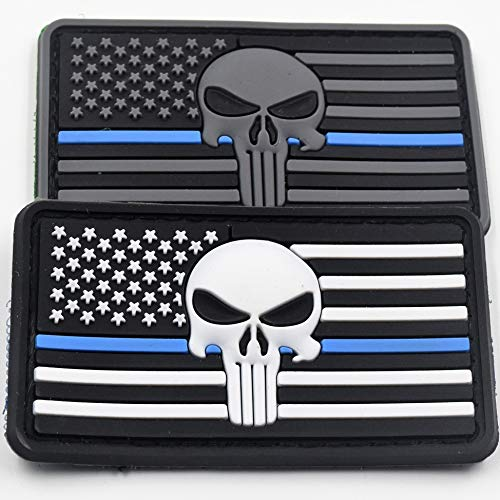 - Rebel Mettle Tactical Hat/Cap Accessory - Thin Blue Line Police Punisher Hook & Loop Morale Patch - PVC - (2-Pack)