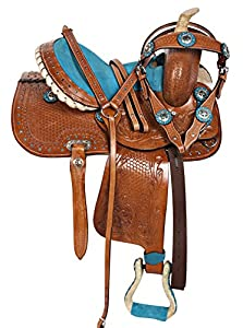 "10"" 12"" 13"" Western Pony Horse Kids Youth Cowboy Cowgirl Pleasure Trail Barrel Racing Saddle Tack Bridle Breast Collar"