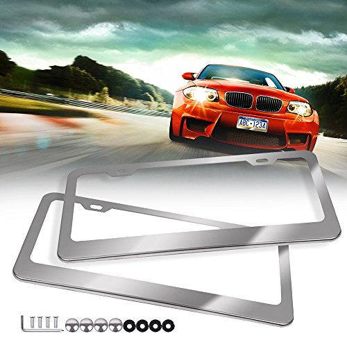 Aries Hummer H2 Stainless Steel - ECCPP License Plate Frame Universal License Plate Covers Protect Plates with Screws for US Vehicles (2Pcs 2 Holes Silver)
