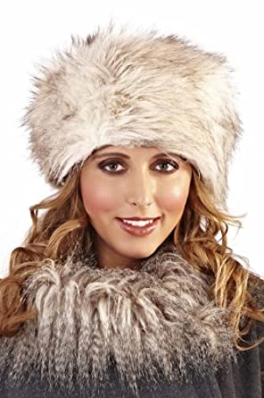 Image Unavailable. Image not available for. Colour  Lora Dora WOMENS LADIES  FAUX FUR RUSSIAN USHANKA COSSACK HAT WINTER WARM GIRLS LADIES BEIGE GREY 10ca86d5896a