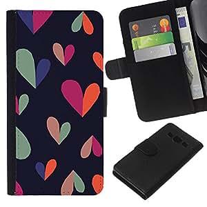 Supergiant (Heart Colorful Black Clean Pattern Teal) Dibujo PU billetera de cuero Funda Case Caso de la piel de la bolsa protectora Para Samsung Galaxy A3 / SM-A300