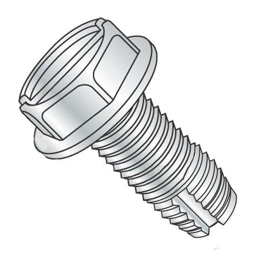 3/8-16 x 1 1/2'' Type 1 Thread Cutting Screws/Slotted/Hex Washer Head/Steel/Zinc (Carton: 500 pcs)