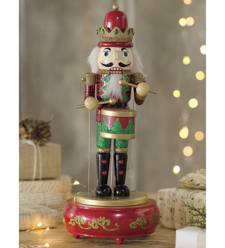Wind & Weather HD8280-RD Wooden Musical Nutcracker Statue, Red,