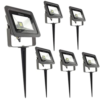 ZSGoes 6 Pack Warm White 10W LED Flood Light Outdoor Waterproof IP66, Wall Floodlight Security Landscape Light, Home, Square, Yard, Garage, Street, Pathway, with Spike Stand, Low Voltage 12V 24V DC AC