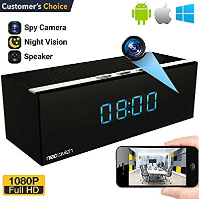 Clock Camera - Best HD Hidden Camera - Mini WiFi Camera - 1080p Video Recorder - Small Wireless Home Security Camera - IP Nanny Cam - 140° Cameras Angle - Night Vision - Motion Detection Cams (Black)