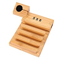 AMIR Support de Charge, Multifunction Bamboo Station D'accueil de Support , Station pour Apple Watch, iPhone, iPad, Smartphone, Samsung, Galaxy, HTC, Tablettes, Kindle