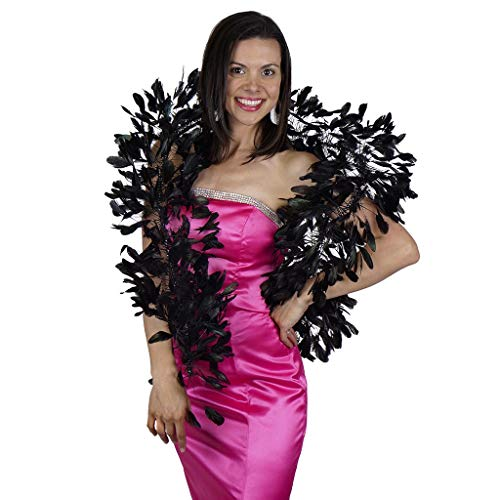 Rooster Stripped Coque Tail Boas - Black/Iridescent