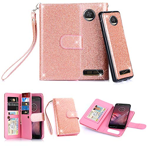 TabPow Moto Z2 Play Case, 10 Card Slot-ID Slot, Button Wallet Folio PU Leather Case Cover With Detachable Magnetic Hard Case For Motorola Moto Z2 Play 2nd Gen(2017) - Glitter Rose Gold