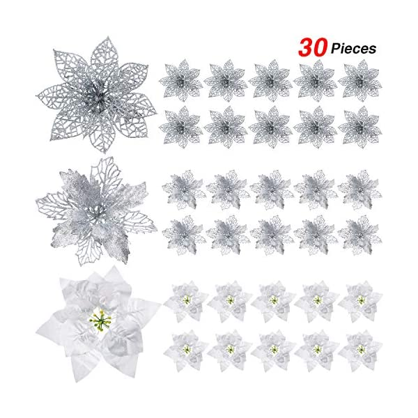 WILLBOND 30 Pieces Glitter Poinsettia Artificial Christmas Tree Ornament Christmas Flowers for Xmas Valentine's Day Spring Festival Wedding Decorations (Silver)