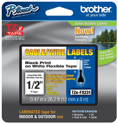 Brother Laminated Flexible ID 1/2 Inch Tape, in Clam Retail Packaging, Black on White (TZeFX231CS) - Retail Packaging