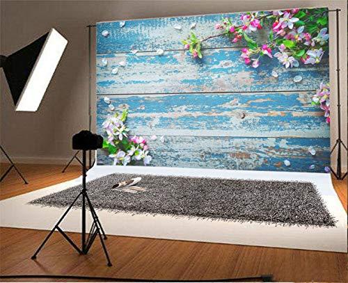 Laeacco Fabulous Peach Blossoms Antique Peeling Blue Plank Backdrop 8x6.5ft Vinyl Valentine