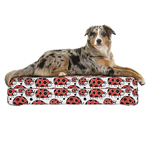 Lunarable Animal Dog Bed, Happy Ladybird Family Parents and Children Hand Drawn Style Childish Bug Beetle, Dog Pillow with High Resilience Visco Foam for Pets, 32