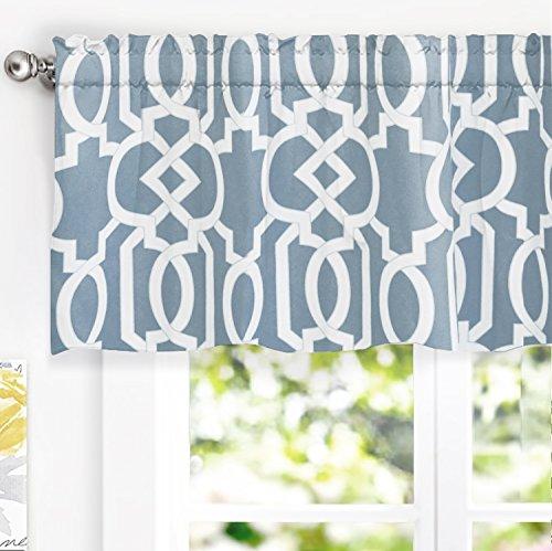 DriftAway Abigail Geometric Trellis Pattern Window Curtain Valance Rod Pocket 52 Inch by 18 Inch Blue