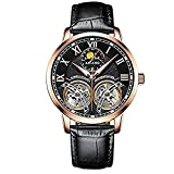AILANG Men's Watch Top Brand Luxury Automatic Mechanical Watches Double Tourbillon Genuine Leather Sapphire Glass Water Resistant 30M (Rose black face) -279
