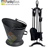 Set of Warwick Traditional Durable Cast Iron 22 Black Companion Set, Black Loop & Waterloo Bucket by FunkyBuys