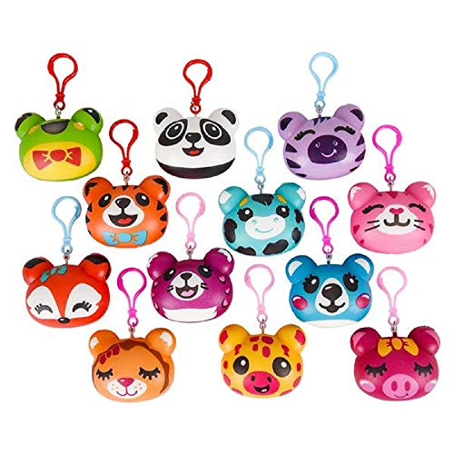 Animal Squish Keychains Slow Rise 12 Pack and 1 Vortex Eraser - Party Favors, Prizes, Stocking Stuffers, Easter Baskets]()