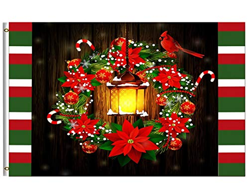 Merry Christmas Flag 4x6 FT Happy Winter Holiday Xmas Poinsettias Street Lights Cardinal Bird Garden Yard House Flags Banner with Brass Grommets Indoor Outdoor Party Home Christmas Decorations