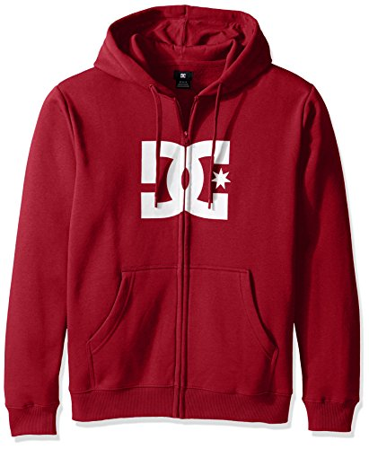 (DC Men's Star Zip-Up Sweatshirt Hoodie, Rio red/White,)