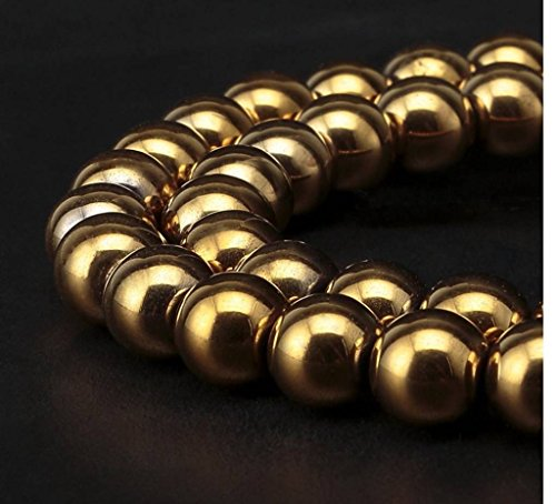 Top Quality Hematite Gold Plated Gemstone Loose Beads 8mm Round Spacer Beads 15.5