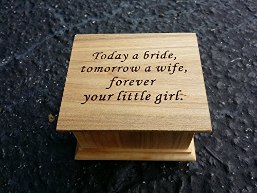 Custom engraved music box with Today a bride tomorrow a wife forever your little girl on top, with your choice of color and song, great gift for mother of the bride