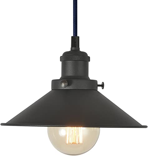 Industrial Pendant Light Fixture, XIDING Vintage Edison Hanging Light, Retro Premium Matte Black Finish Metal Shade, E26 Base, Adjustable Wire, 1-Light