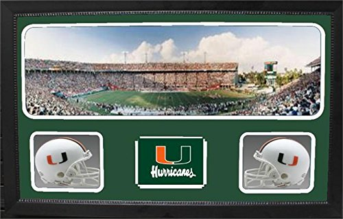 Encore Select 657-07 NCAA Miami Hurricanes Custom Framed Sports Memorabilia with Two Mini Helmets Photograph and Name Plate by Encore