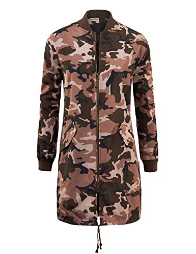 MBJ WJC1248 Womens Fashion Military Long Anorak Jacket S PINK
