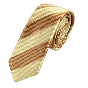 PS1057 Beige Beautiful Mens Silk Skinny Necktie Matching Gift Box Set Best Design Stripes Fashion Tie By Epoint
